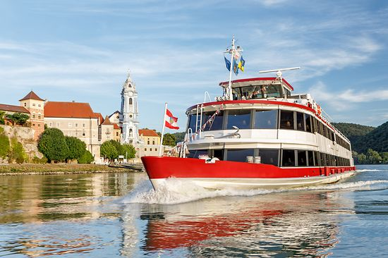 Excursion boat on the danube with Duernstein