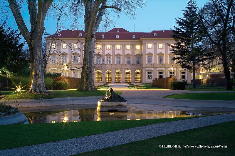 Liechtenstein GARDEN PALACE view of north facade with ambience lights
