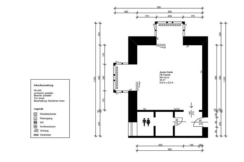 Floor plan Junior Suite Austria Trend Hotel Rathauspark
