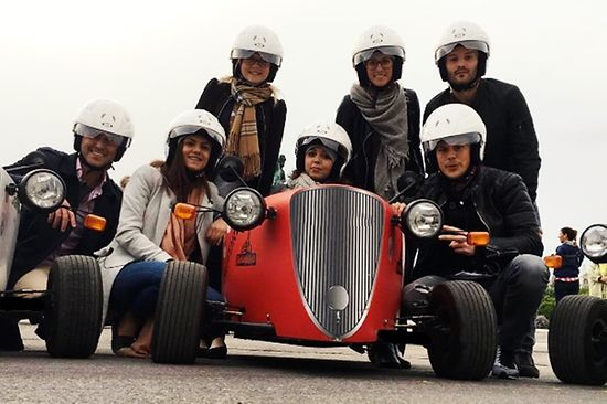 Group of people with soap box car