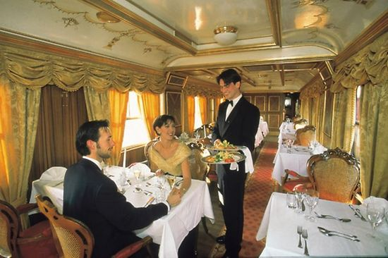 Luxurious dining car in a historic train
