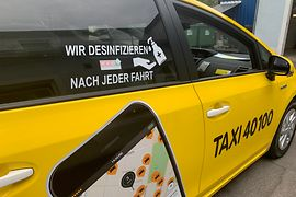 Taxi with reference to disinfection