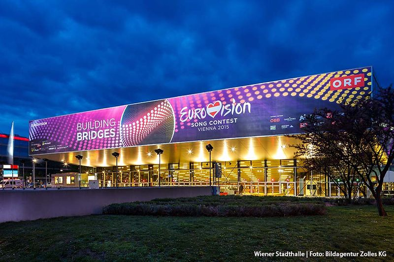 Wiener Stadthalle exterior view during Eurovision Song Contest 2015